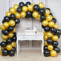 PartyWoo Balloons 12 Inch 100 Pcs Gold and Black Balloons Pearlised Balloons Latex Balloons Helium Balloons Party Supplies for Wedding Birthday Christmas Baby Shower - Gold & Black, with FREE Ribbon.