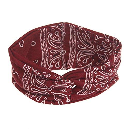 VENMO Frauen Yoga Sport Elastic Floral Haarband Stirnband Turban verdreht verknotet Elastische Blume Gedruckt Stirnbänder Baumwolle Gestrickte Verdrehte Weiche Turban-Kopf-Verpackungs (Wine ()