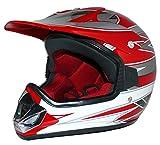 Protectwear Casque de motocross pour enfants, MaX Racing, rouge / argenté / blanc...