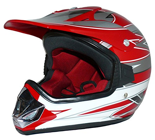 protectWEAR V310-RT-XS Kindercrosshelm, Kindermotorradhelm Max Racing, Größe XS (Youth L), Rot/Silber/Weiß Glanz