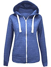183dcce905a84 Ladies Plain Zip Up Hoodie Womens Fleece Hooded Top Long Sleeves Front  Pockets Soft Stretchable Comfortable Plus Sizes Small to…