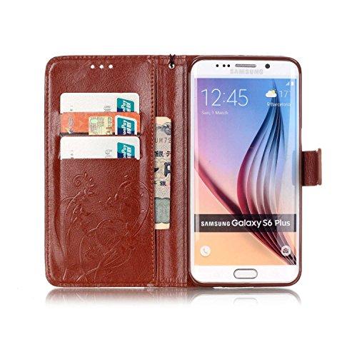 Prägen Blumen-Case, Magnetverschluss Synthetische PU-Leder-Kasten-Abdeckung mit hängenden Seil und Wallet-Funktion für Samsung S6 Rand Plus ( Color : Pink , Size : Samsung S6edgeplus ) Brown