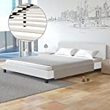 Homelux Polsterbett Doppelbett Bettgestell Bettrahmen Kunstleder 140 x 200 cm Weiss