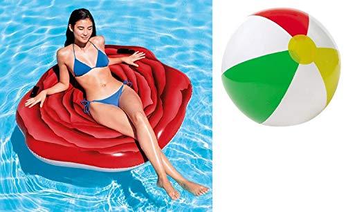 Aufblasbare Luftmatratze XL Matratze Badematratze Schwimmmatratze Rote Rose Badeinsel Grün Luftmatratzen Motiv für Wasserspielzeug, Strand, Kinder, Sonnen, Pool , Erwachsene Meer Deko -