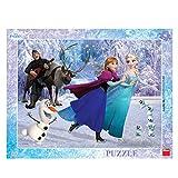 Dinotoys 322172 Hochwertiger Schreibtisch Puzzle mit Rahmen;Disney Frozen Motiv, 40 Stück