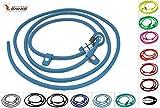 LENNIE Retrieverleine Moxonleine aus 6 mm runder BioThane / 0,75-2 Meter [1,25 m] / 19 Farben [Azurblau (Türkis-Blau)] / ohne Handschlaufe
