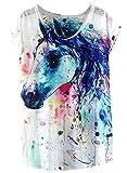 Doballa Damen Pferd T-Shirt Grafikdruck Kurzarm Casual Oberteile, Weiß, M