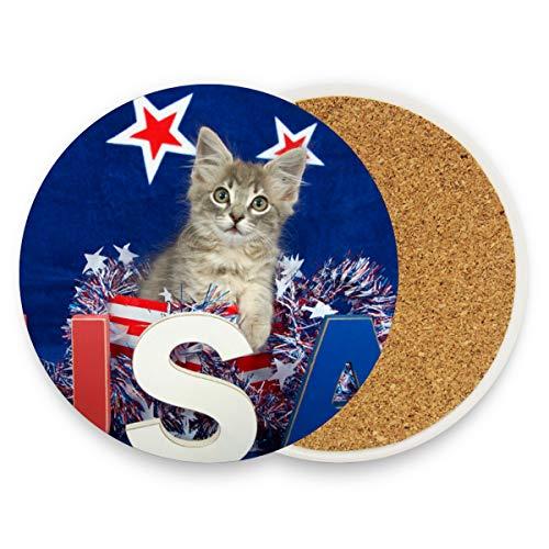 Niedliche süße USA Katze Kitty Runde saugfähige Keramik Stein Getränke Untersetzer Untersetzer Set Kaffee Becher Set Set für Home Office Bar Küche (Set von 1 Stück), keramik, multi, 4er-Set -