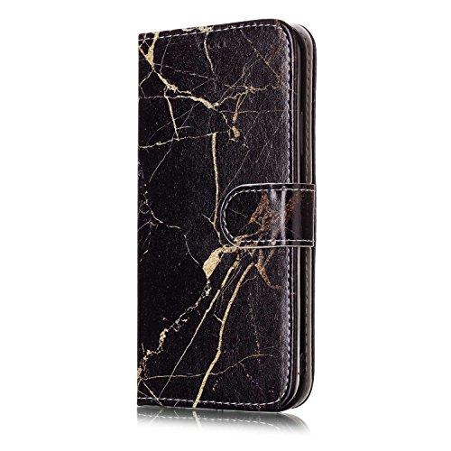 inShang Custodia per iPhone X 5.8 inch con design integrato Portafoglio, iPhoneX 5.8inch case cover con funzione di supporto. Black marble