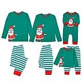Weihnachten Schlafanzug Familie Pyjamas Outfit Set Weihnachtsmann Drucken Nachtwäsche Homewear für Mama Dad Kinder Baby Weihnachten Top T-Shirt + Gestreifter Hosenanzug Eltern-Kind-Kleidung
