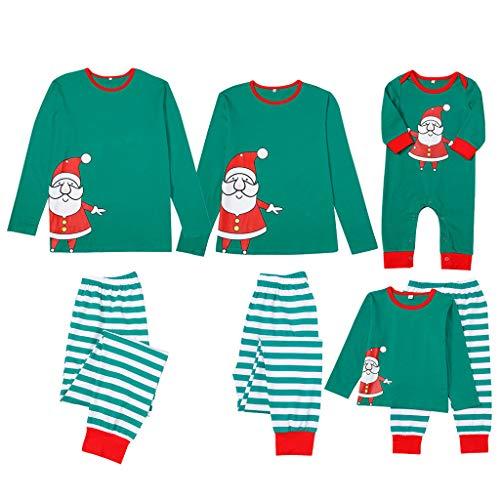 OHQ Weihnachten Schlafanzüge Festliche Passende Sets Familien Outfit Kostüm Langarm Oberteil und Streifen Hosen Pyjama Sleepwear Set Nachtwäsche Zweiteiliger Hausanzug für Dad Mom Kinder - Best 80's Paare Kostüm