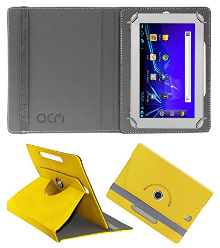 Acm Rotating 360° Leather Flip Case for Ambrane A-707 Cover Stand Yellow  available at amazon for Rs.149