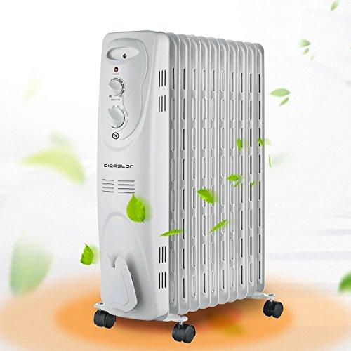 Aigostar Pangpang 33IEJ – Radiateur à bain d'huile portable. 11 éléments, 2300 W. 3 niveaux de puissance et thermostat réglable. Design exclusif.