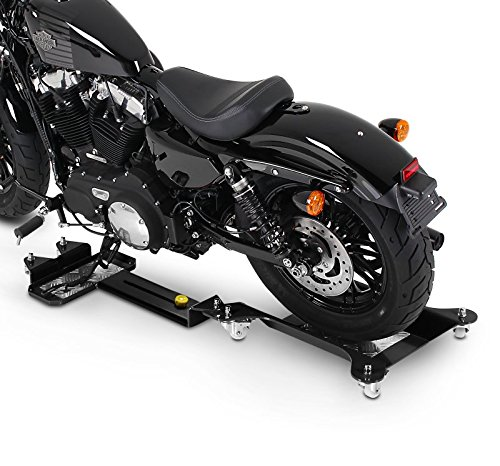 ConStands Motomover III - Motorrad Rangierschiene für Harley Davidson Dyna Fat Bob (FXDF) Schwarz Längenverstellbar Rangierhilfe Seitenständer Hinterrad