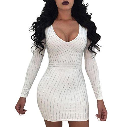 Longra Donna Elegante Abito Vestito A Matita Abito Scollo Av Abito Da Donna  Con Paillettes Vestito Da Sera Manica Lunga ... a97a4784e25