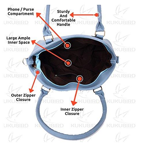Kukubird Varya Alta Qualità Griglia Modello Faux Spalla Staccabile In Pelle Due Cinghie Design Top-maniglia Tote Borsetta Black