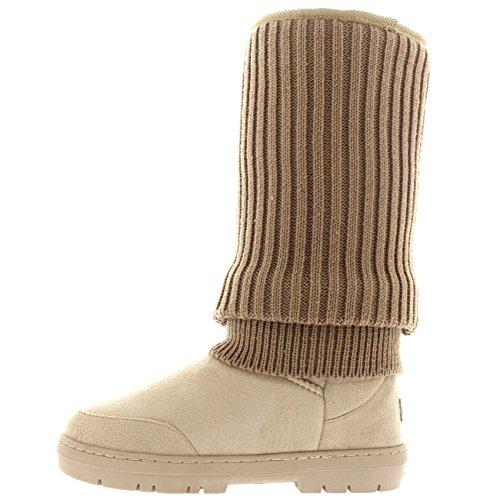 Damen Tall Knitted Cardy Hängen Winter Schnee Regen Im Freien Warm Schuh Stiefel Beige Gestrickt