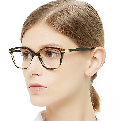 OCCI CHIARI Brillenrahmen rechteckig stilvoll Brillenrahmen farbige Brillenfassung nicht druckbare Brillen mit klaren Gläsern Geschenke für Frauen Gr. 53-17-140, F-green Demi