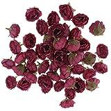 Baoblaze 50x Kunstseide Blumen Blühten Köpfe Blumenköpfe Kunstblumen DIY Orhnament - Dunkelrot