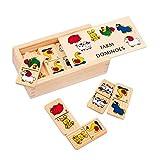 """Domino """"Farm"""" klein aus Holz, mit süßen Tiermotiven, in einer Holzbox mit Schiebedeckel, ideal zum Mitnehmen, ein Spieleklassiker für Jung und Alt"""