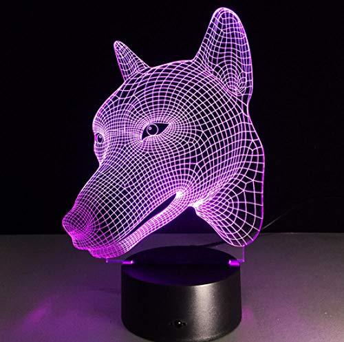 Joplc 3D Visuelle Touch Desk Tischleuchte LED Acryl Lampe 3D Hund Form Kreative Wohnkultur Schlafzimmer