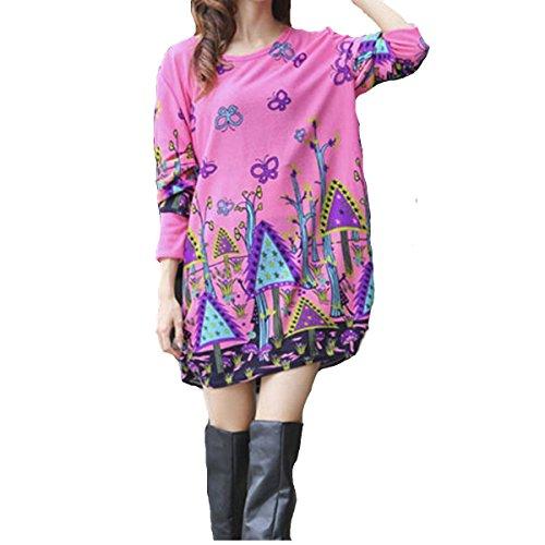 Minetom Femme Shirt Boho Manches Courtes Col Rond Blouse Tops Chemise Papillon rose