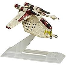 Hasbro B4592 – Star Wars – Angriff der Klonkrieger – The Black Series Titanium – Republic Gunship – Minifahrzeug + Ständer – ca. 5 cm