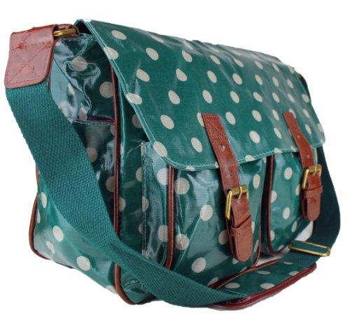 Damen-Handtasche, Messenger Bag, Wachstuch, Blumenprint, Punkte Dunkelgrün mit Punkten