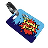 Personalised Luggage Suitcase Tag Printed P U Leather Children's Kids Superhero Comic Strip Traveller Design (custom printed with any name)
