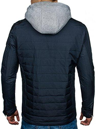 BOLF – Veste – Blouson - Fermeture éclair – À capuche – Manches longues – Homme 4D4 Bleu foncé