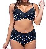 Très Chic Mailanda Bikini Grandi Sexy Donna Costumi da Bagno Plus Size Spiaggia Boemo Fionda Scoll a V Due Pezzi Swimwear Estate (3XL, Punto Multicolore)
