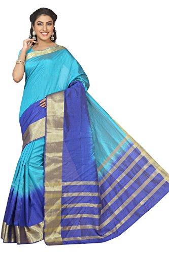 Rani Saahiba Zari Woven Border Shaded Art Silk Saree(SKR1498_Blue)  available at amazon for Rs.799