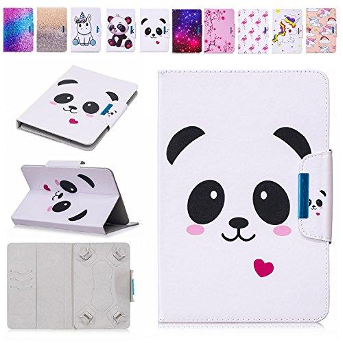 E-Mandala 10 Zoll Hülle Leder Flip Case Tablet PC Tasche mit Kartenfach Ledertasche Lederhülle - Panda Herz