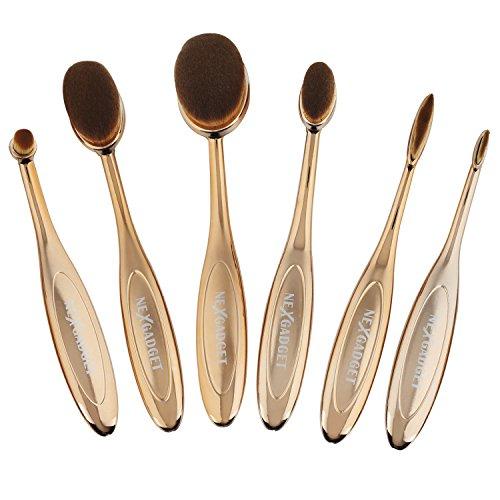 NEXGADGET Pinceaux Maquillage Kit de Pinceau Brosse Maquillage Ovale En Fibre Synthétique douce 6 Pièces Pour Outils cosmétiques à Pinceau Pour Poutre Correcteur Fondant Eye-liner (Poignées Rosées d'or)