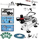 Display4top 1/5HP Multi-Purpose Professionale Aerografo Compressor Kit Sistema, con 2 Aerografo:0.3MM Dual Azione Gravity Feed, 1 Aerografo: Alimentazione sifone 0.8mm Singola Azione