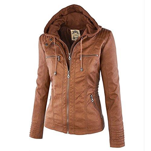 Paris Hill Women's PU Leather Jacket Zip Up Pockets Biker Jacket