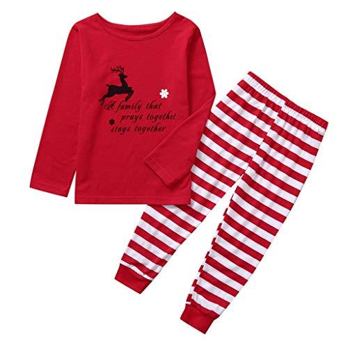 Kostüm Cartoon Elf - ZHANSANFM Kinderbekleidung Neugeborenen Baby Jungen Mädchen Weihnachten Kostüm 2tlg Set Cartoon Elk Drucken Langarm Tops Shirt+ Rot Streifen Hosen Kinder Kleidung Outfits 11-12Jahre rot