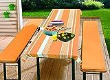 Bierbankauflagen Set 3teilig 70x240 cm (für 50 cm Tischbreite) orange