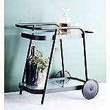 Rollbarer Servierwagen Getränkewagen Gartentrolley Aluminium mit Glasflächen - Anthrazit