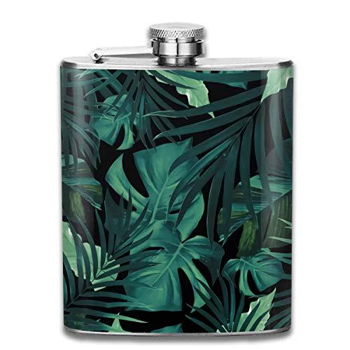 Flaschen for Women Edelstahlflaschen 7 Oz Tropical Jungle Night Leaves Pattern Whiskey Flask Hip Flask Leak Proof Wine Men Women Lady-flasche