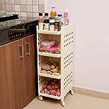 #6: Kurtzy Vertical 4 Layer Space Saving Storage Organizer Rack Shelf With Wheels For Kitchen Bathroom Lxbxh 28X33X86Cm