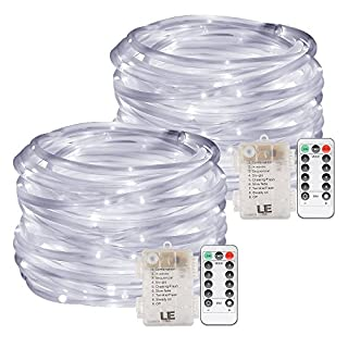 LE 10m 120 LED Dimmable Rope Lights, Battery Powered 8 Modes Waterproof Daylight White String Lights for Garden, Patio, Party, Christmas, Outdoor Decoration, Pack of 2