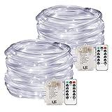 LE Lighting EVER Tube Lumineux LED, Guirlandes Extérieure, 12m Dimmable Blanc Froid, à Piles pour Décoration Noël, Mariage, Jardin, Terrasse, Arbre, Pergola, etc. Lot de 2