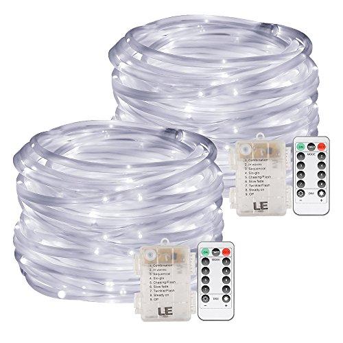 LE 120er 10M LED Lichterschlauch Batteriebetriebe 8 Modi mit Memory-Funktion, Kaltweiß, ideal für Weihnachtsdeko, Innen, Party, Weihnachten, Dekolicht usw. 2er Pack