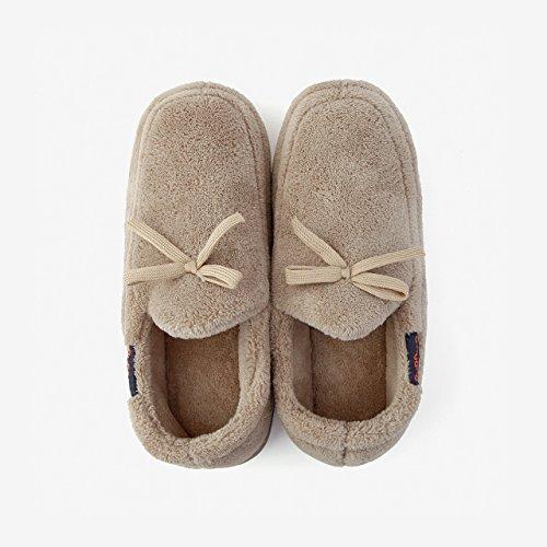 DogHaccd pantofole,Home caldo inverno pacchetto coppie con cotone pantofole donna anti-slittamento autunno spessa soggiorno scarpe. Il beige1