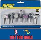 Kinzo - Set 10 Pezzi Accessori Per Levigatura Frese Trapano Rifinitura Dremel Acciaio Plastica Legno