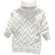 KINDOYO Moda para Niño Niña otoño Invierno de Color sólido Cuello Alto  suéter Camisa 301d30d39bdc
