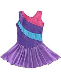 Mallot de Ballet/Danza con tutú para Chica/Vestido sin Mangas con Rayas, 2-11 años, niña, Color Morado, tamaño (6-7 Años)