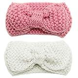 F Fityle 2 Pièces Bébé Filles Bandeau Nouveau-né Crochet Arc Bandeau Serre-tête Cheveux