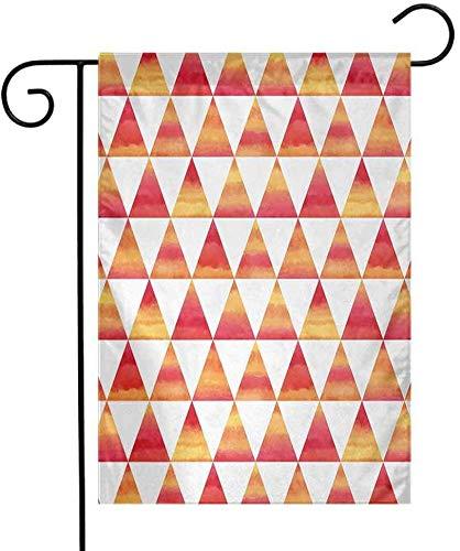 Shinanla Polyester-Garten-Flaggen-Zusammenfassungs-Dreieck-geometrische Formen hereinAquarell-Art-Malerpinsel-Effekt-Kunst-Bild-vertikales einseitiges Yard-dekoratives orange Scharlachrot im Freien